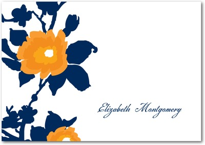 Rich Floral Signature White Thank You Cards Navy