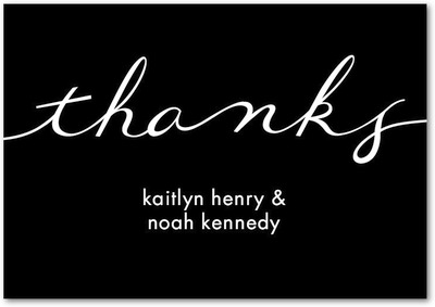 Perfect Knot Signature White Thank You Cards Black