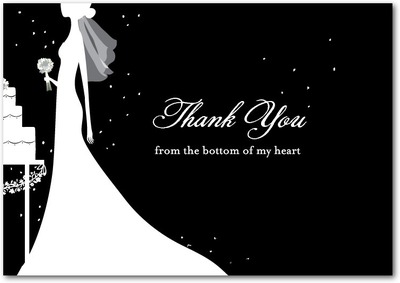 Starry Bride Signature White Thank You Cards Black