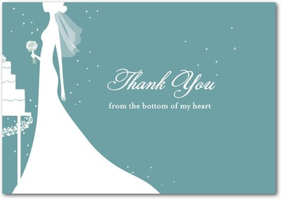 Starry Bride Signature White Thank You Cards Seafoam