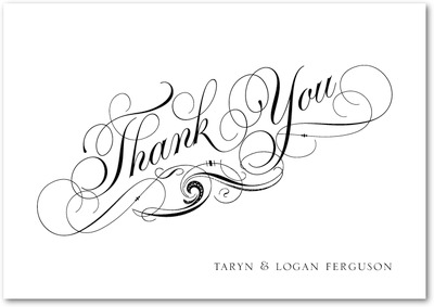 Pen And Ink Signature White Thank You Cards Black
