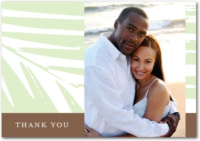 Palm Fronds Signature White Thank You Cards Wasabi