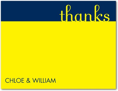 Modern Pair Signature White Thank You Cards Sunny Yellow