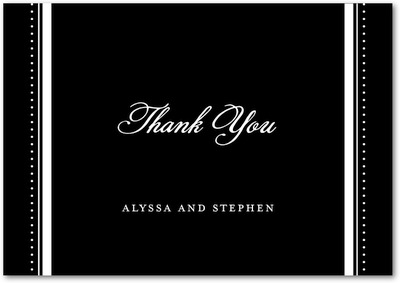 Tuxedo Chic Signature White Thank You Cards Black