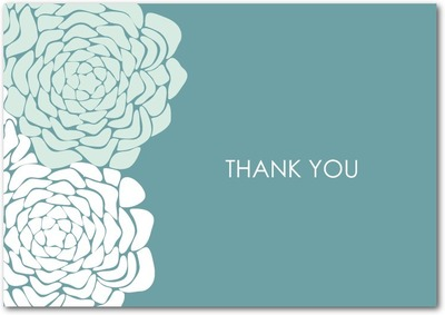 Royal Roses Signature White Thank You Cards Seafoam