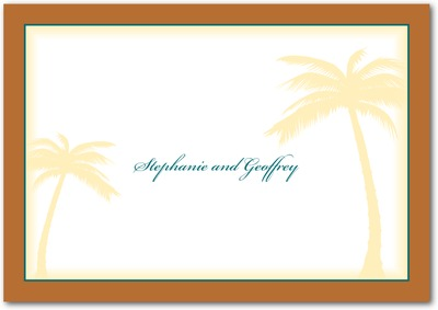 Palm Trees Signature White Thank You Cards Rust