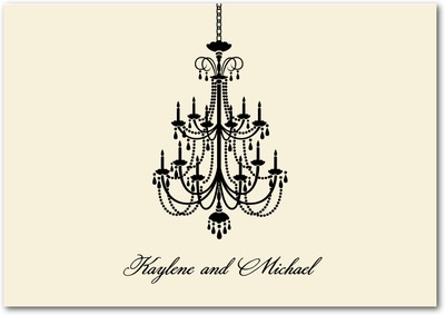 Chandelier Signature White Thank You Cards Almond
