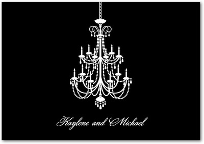 Chandelier Signature White Thank You Cards Black Russian