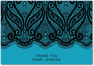 Lacy Strip Signature White Thank You Cards Aqua