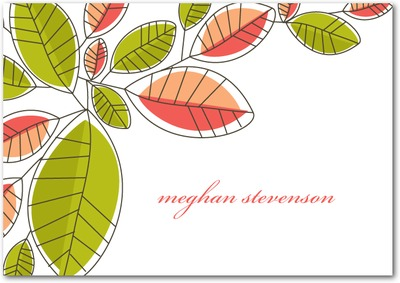 Mod Leaves Signature White Thank You Cards Dark Gray