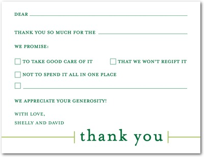 Blank You Signature White Thank You Cards Forest green