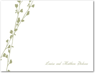 Vine Signature White Thank You Cards Moss