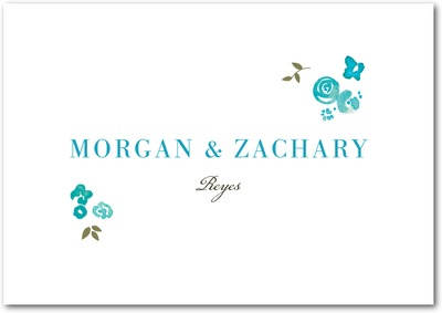 Showering Bouquets Signature Premium Thank You Cards Aqua