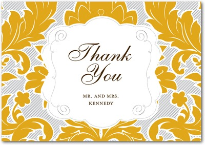Striped Damask Signature Premium Thank You Cards Burst