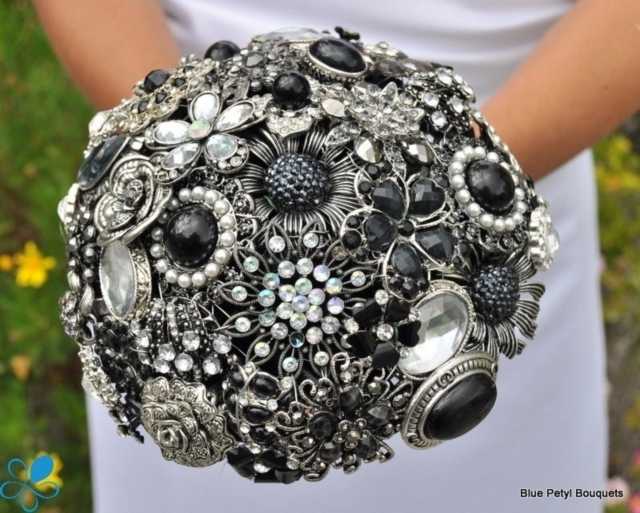 Black Brooch Bouquet