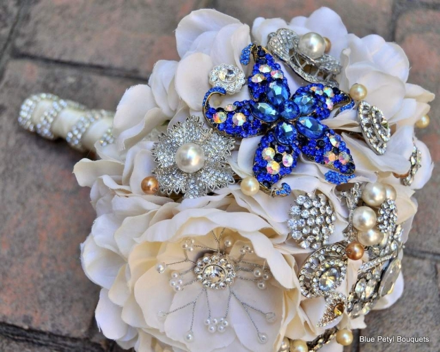 """Something Blue"" Magnolia Brooch Bouquet HL09"