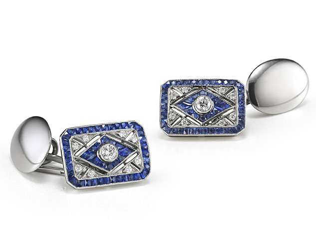 18KT White Gold Diamond and Sapphire Cufflinks from the Kwiat Vintage Collection