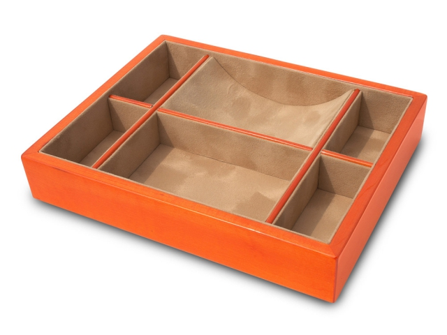 Groomstars Orange Veneer Multi-sectioned Valet Tray