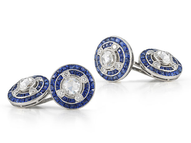 Kwiat Vintage 18KT White Gold Diamond and Sapphire Cufflinks