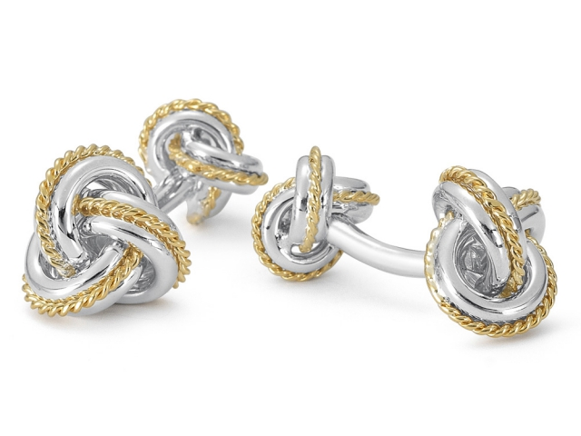 Rope Knot Cufflinks - Sterling Silver/18KT Gold