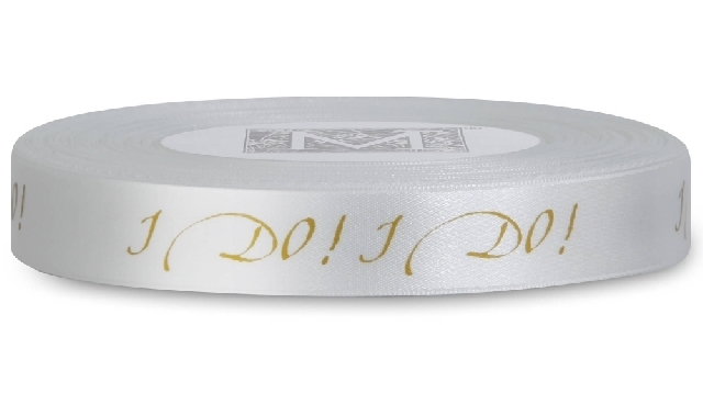 "MIDORI Bridal ""Beachy Bride"" Collection - Double Faced Satin Sayings - Gold ink ""I Do!"" on Alabaster"