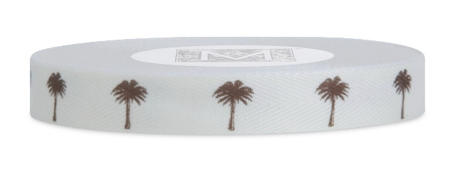 "MIDORI Bridal ""Beachy Bride"" Collection - Symbols on Herringbone - Brown ink Palm Tree on Bone"