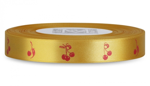 "MIDORI Bridal ""Bold & Bright"" Collection - Double Faced Satin Symbols - Red ink Cherries on Amarillo"