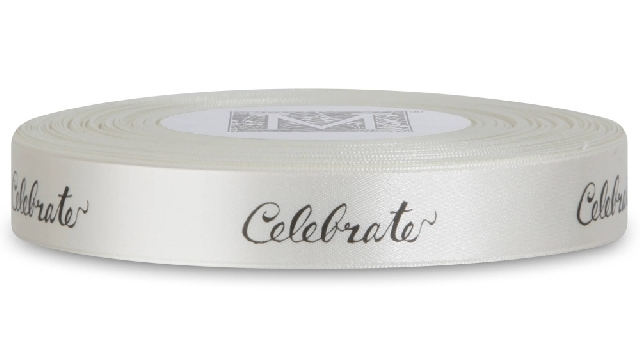 "MIDORI Bridal ""Old Hollywood Glam"" Collection - Double Faced Satin Sayings - Black ink ""Celebrate"" o"