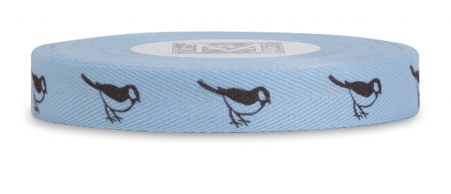 "MIDORI Bridal ""Preppy"" Collection - Symbols on Herringbone - Brown ink Birds on Ciel"