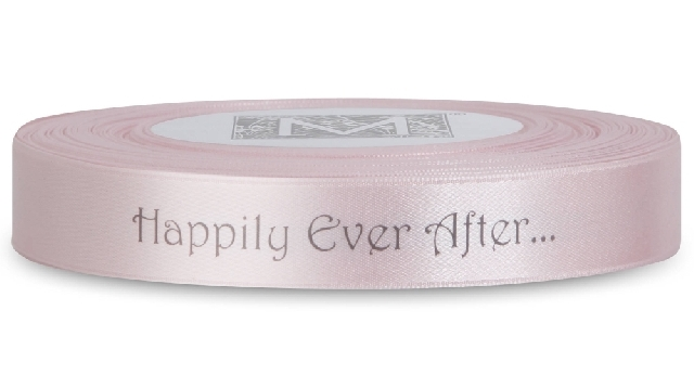 "MIDORI Bridal ""Shabby Chic"" Collection - Double Faced Satin Sayings - Dark Gray ink ""Happily Ever Af"