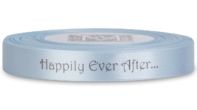 "MIDORI Bridal ""Shabby Chic"" Collection - Double Faced Satin Sayings - Brown ink ""Happily Ever After"""
