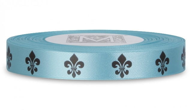 "MIDORI Bridal ""Shabby Chic"" Collection - Double Faced Satin Symbols - Black ink Fleur De Lis on Aqua"