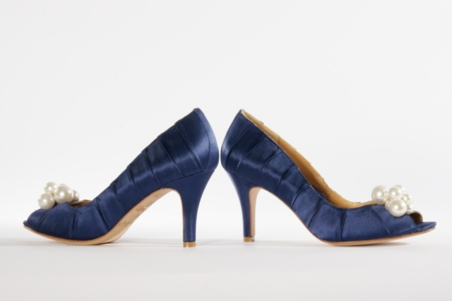 "3"" 100% Silk Satin pleated peeptoe pump with faux pearl cluster. Available in Gold, Navy"