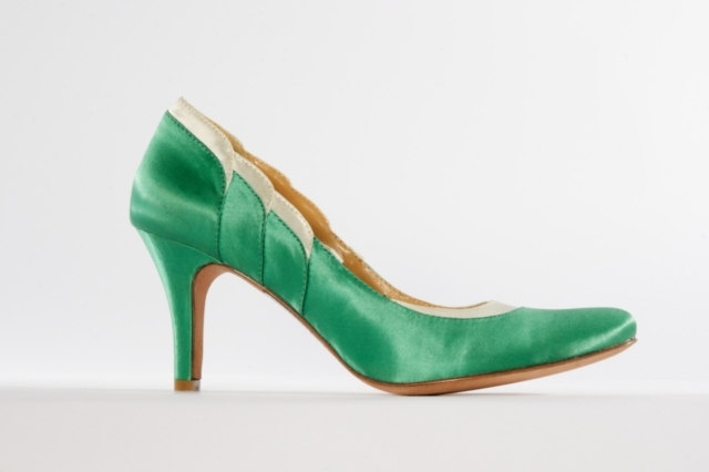 "3"" pump with 100% silk satin scalloped heel. Available in Marigold/Grey, Jade/White, White/Silver"