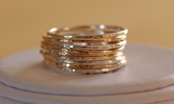 Etsy jewelry set of 9 14K gold filled & sterling silver Stack/Stackable/Stacking rings sizes 4,5,6,7