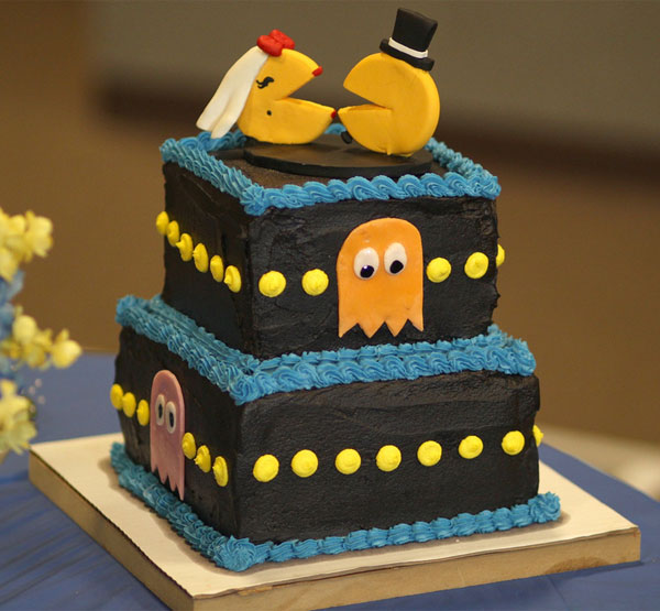 wedding cake traditions, 6 Wedding Cake Traditions and Where They Actually Came From, pacman grooms cake