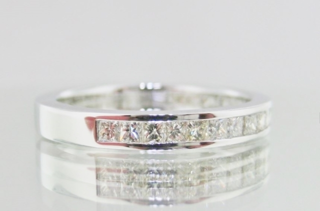 Princess Cut Channel Set, Half-Way Around Wedding Band.