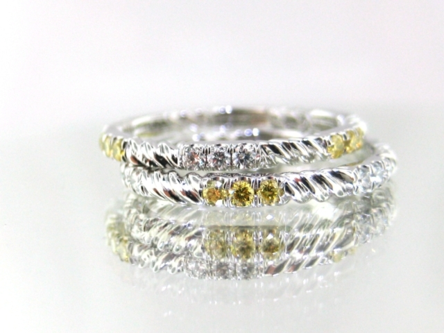 White & Yellow Diamond Twist Wedding Rings