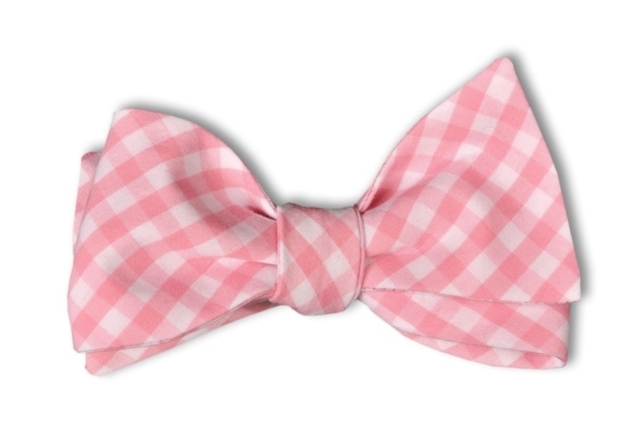 pale pink check bow tie